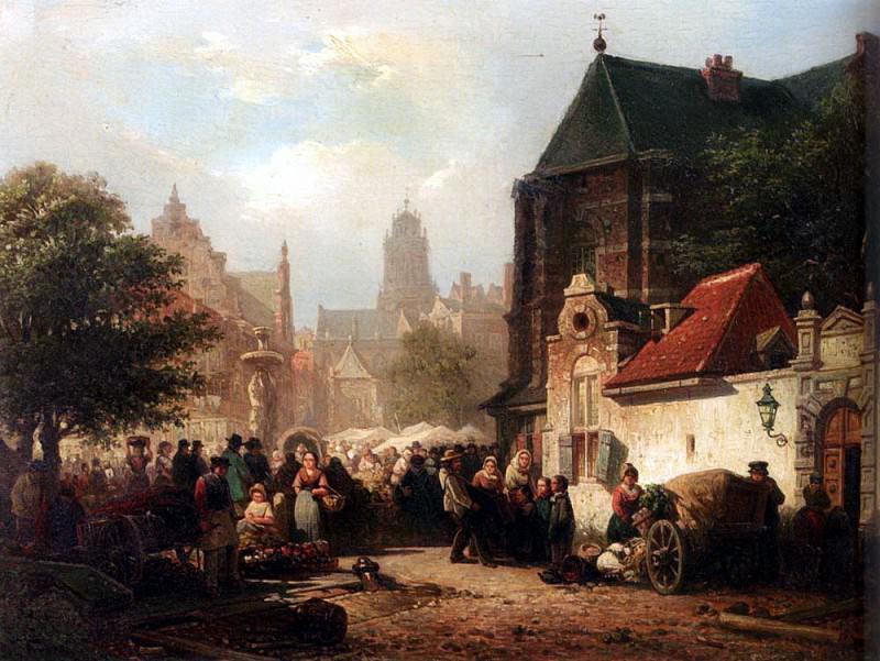 Bommel Elias Pieter Van A Market Day In Zaltbommel. Dutch painters