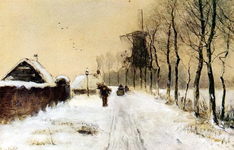Апол, Луис - Собирание хвороста на сельской дороге. Голландские художники