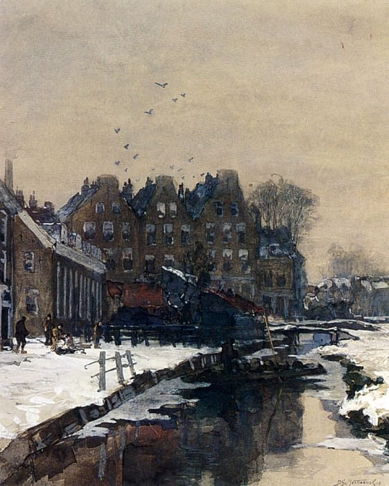 Mastenbroek Johan Hendrik Van A Canal Scene In Winter. Dutch painters