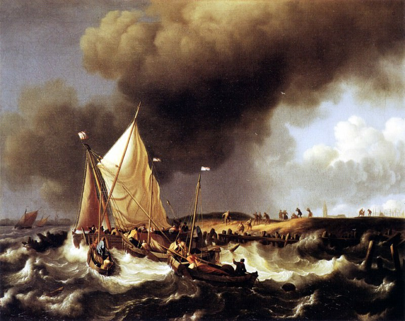 Backhuysen 96Boats. Dutch painters