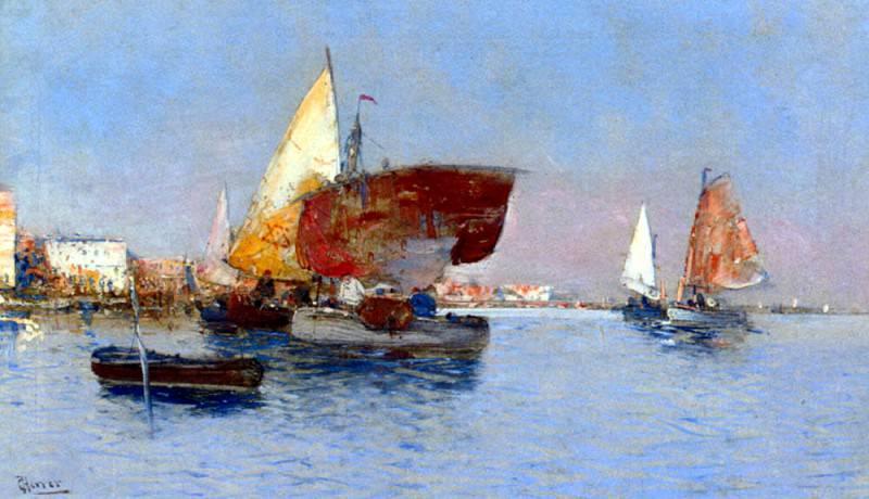 Herrer Cesar Fishing Vessels In The Venetian Lagoon. Испанские художники