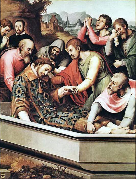 JUANES Juan de The Entombment Of St Stephen Martyr. Spanish artists