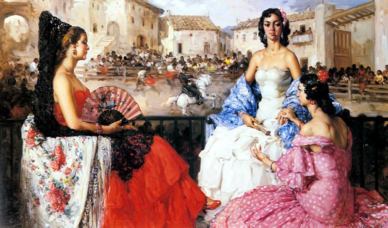 Clement Francisco Rodriguez San Elegant Woman Watching A Bull Fight. Испанские художники