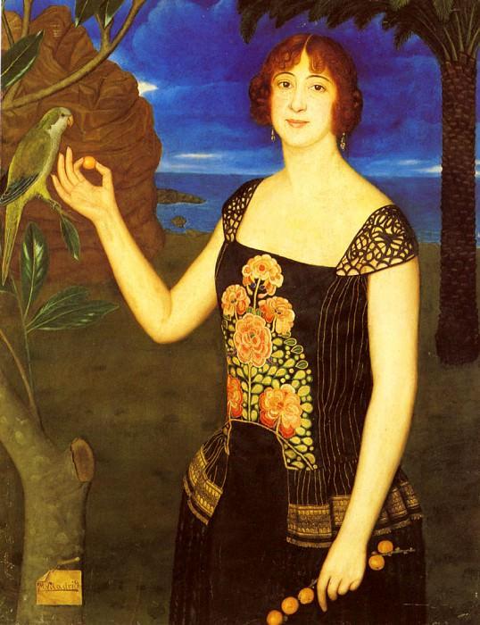 Viladrich Miguel A Portrait Of A Lady With a Parakeet. Испанские художники