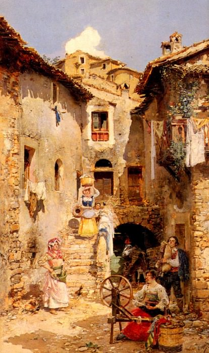 Marco Vicente March y A Roman Courtyard In Summer. Испанские художники