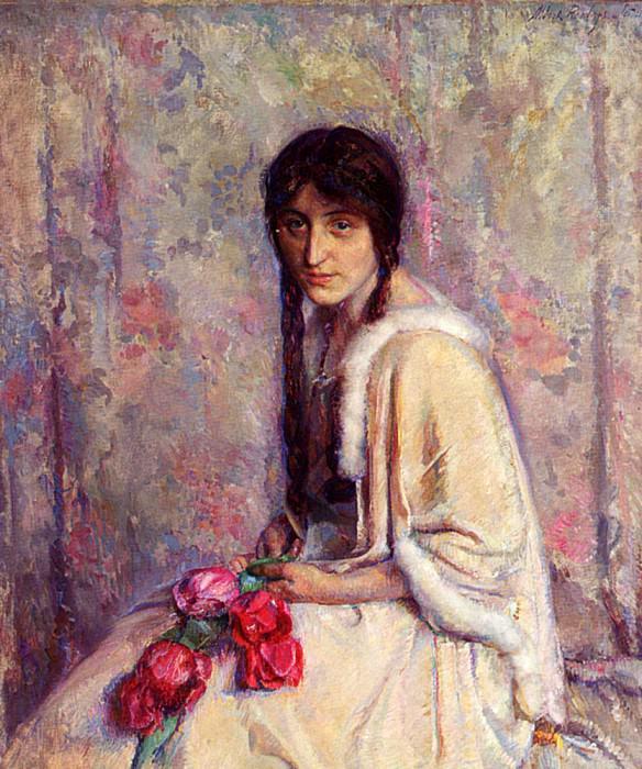 Roelofs Albert A Girl Holding Flowers. Spanish artists