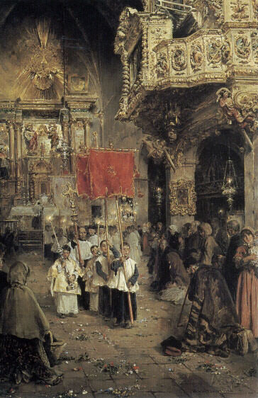 Procession At The End of Mass. Spanish artists