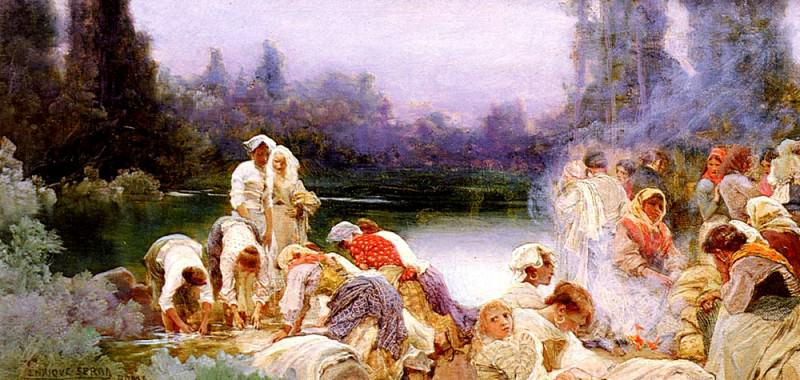 Auque Enrique Serra y Washerwomen At The Rivers Edge. Spanish artists