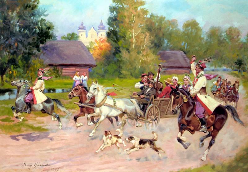 Kossak, Jerzy - Just Married. Polish artists