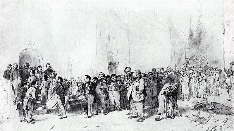 Gogol wird von den Gestalten seiner Werke zu Grabe getragen. 1873 Fig. 29, 2h50, 7 TG. Vasily Perov