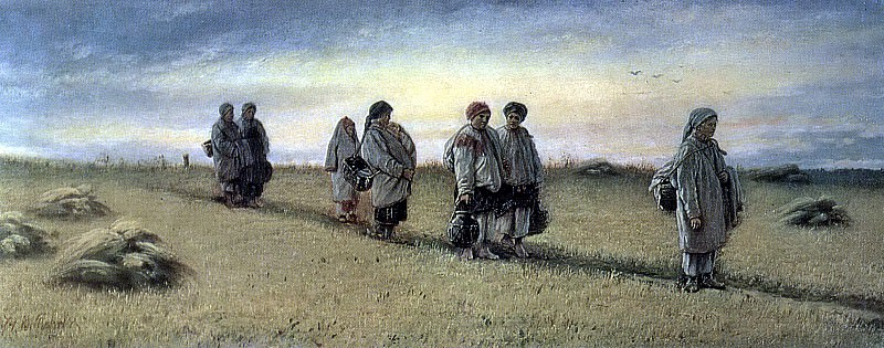 Return reapers of the field in the province of Ryazan. H. 1874, m. 25, 8h65 GTG. Vasily Perov
