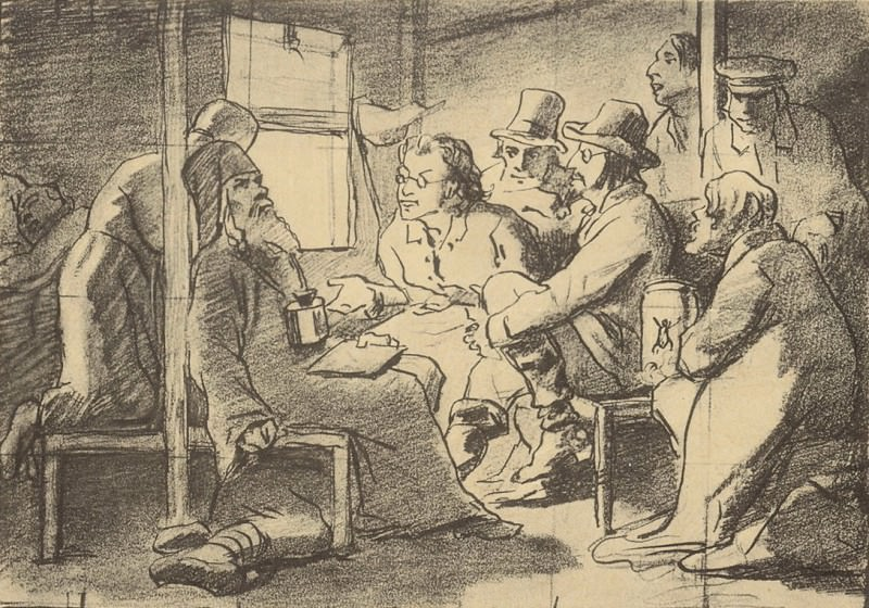 dispute about faith (the scene in the car). Fig. c. 1880 pen and 24h33. 5 GTG. Vasily Perov