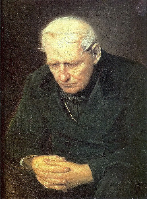 old man. Fragm. option because old people - parents in the tomb of his son. 1874 H., M. 58h47 Minsk. Vasily Perov