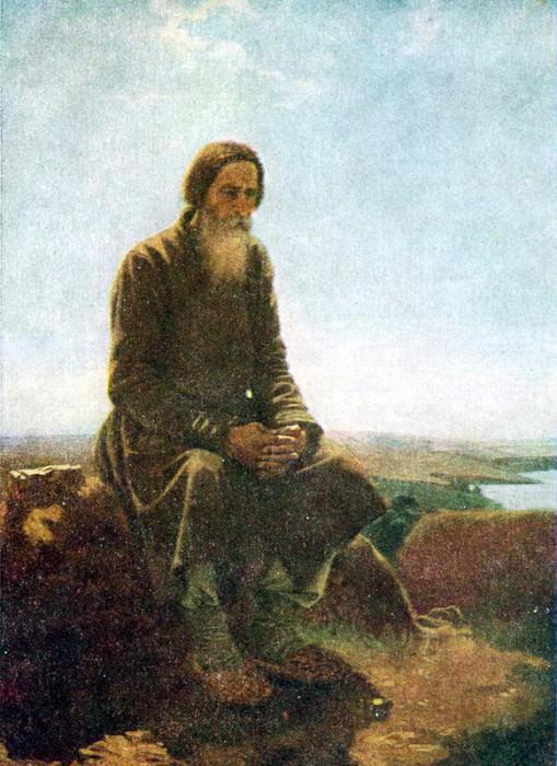 Крестьянин в поле. 1876 Х. , м. 62. 5х50 Рига. Василий Григорьевич Перов