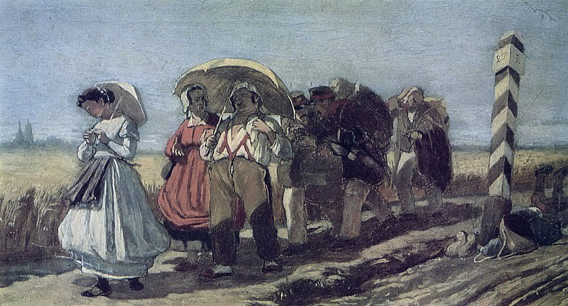 Trip quarterly with the family on a pilgrimage. Sketch. 1868 (q) H., m. 18, 9h32, 2 TG. Vasily Perov