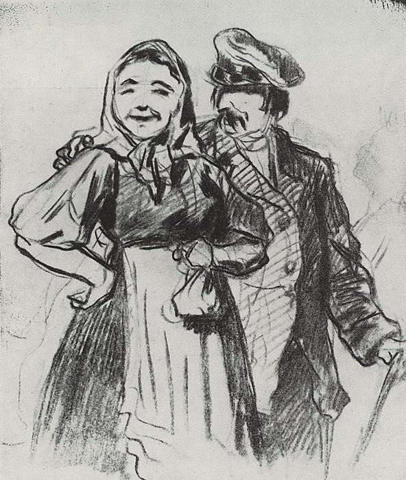 Федот и Арина. 1873 Рис. 14х12 ГТГ. Василий Григорьевич Перов