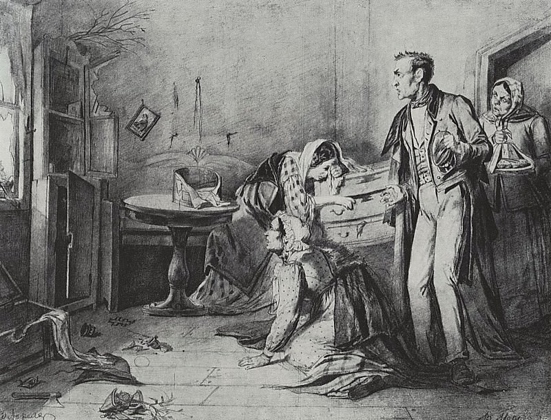 Burglary on Easter night. 1861 Fig. 33h42, 5 GTG. Vasily Perov