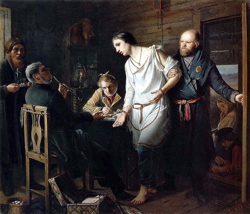 Arrival stand on the investigation. H. 1857, 38h43 am GTG. Vasily Perov