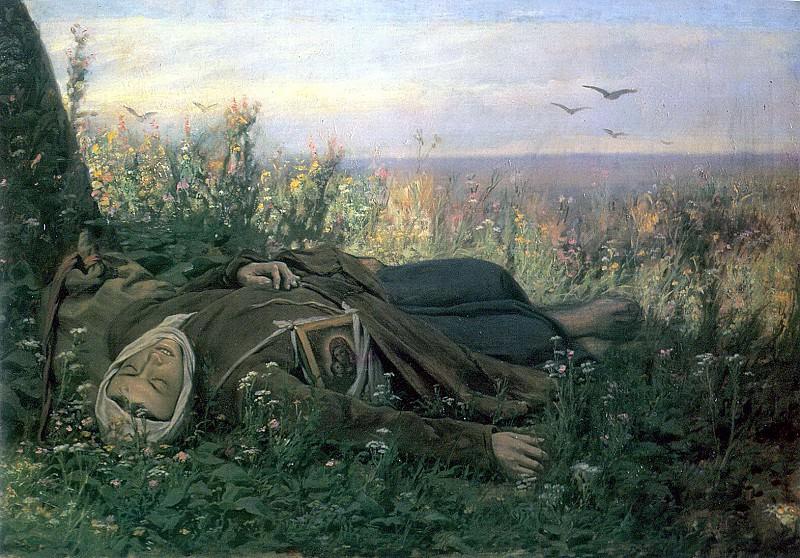 Wanderer in the field. H. 1879, 63h94 pm N. Novgorod. Vasily Perov