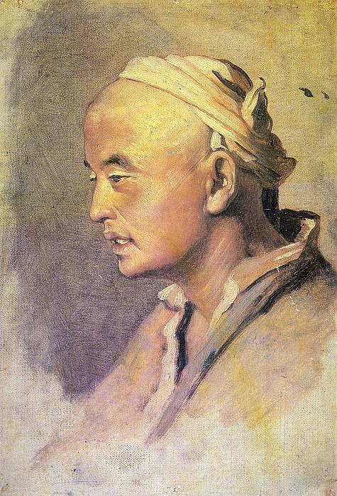 The head of the Kirghiz. Sketch. H. C., m. 32. 5h22. 6 TG. Vasily Perov