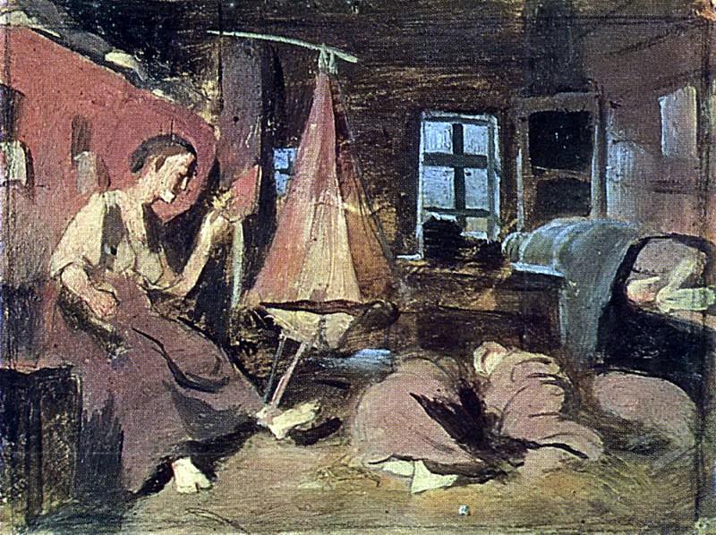 night in the hut. Sketch for Children Sleeping. B. K., m. 14, 4h20 TG. Vasily Perov