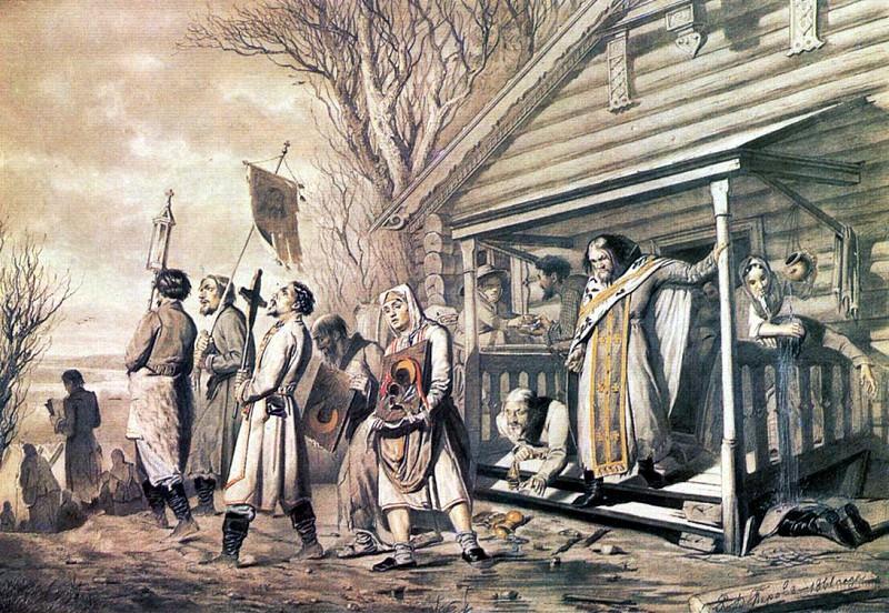 Procession on Easter. 1862 IT. K., wc., gilding. 53h67 GMII them. Pushkin, M.. Vasily Perov