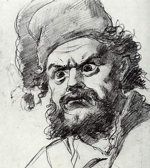 Head Pugacheva. Sketch. Fig. 19, 1h17, 9 TG. Vasily Perov