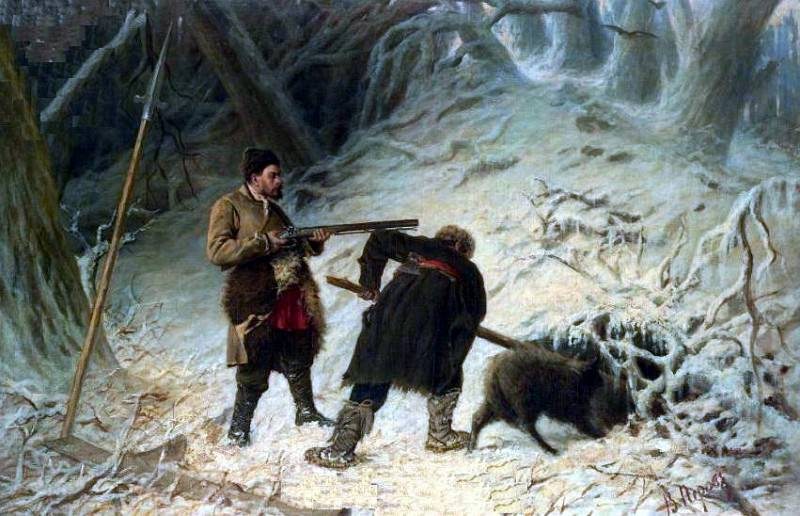Hunting for wild boar. H., m. 93. 5x142. Vasily Perov