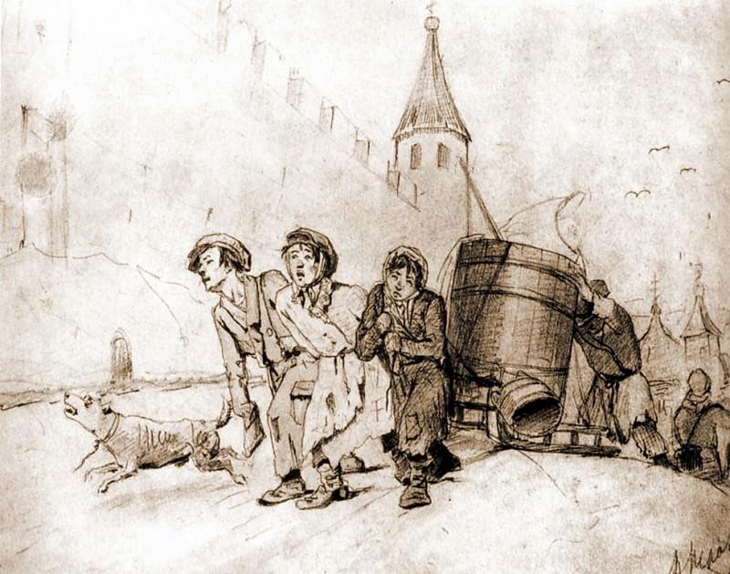 Troika. Paper, 15, 7h31. 1865. GTG. Vasily Perov