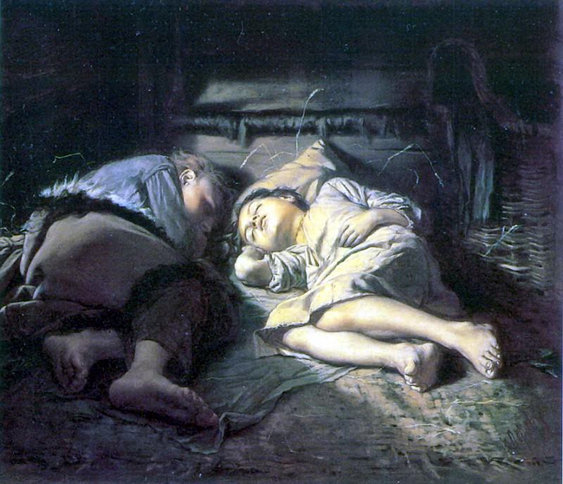 Sleeping children. 1870 H., M. 53h61 TG. Vasily Perov