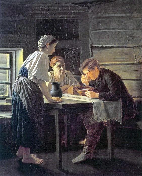 Admission pilgrim. 1874. Oil on canvas. 93x78. Vasily Perov