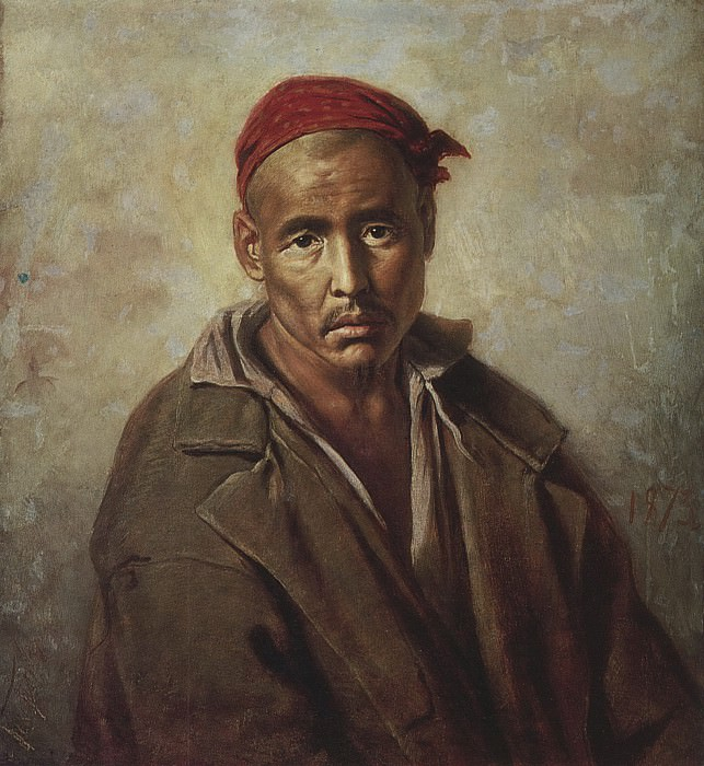 The head of Kyrgyzstan - convict. H. 1873, m. 64, 5h58, 5 RM. Vasily Perov
