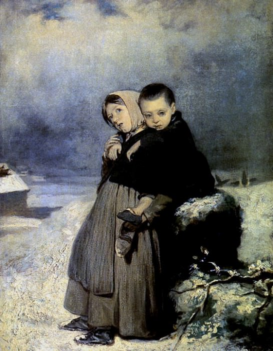 Дети-сироты на кладбище. 1864(q) Х. , м. 48х34. 8 ГРМ (Перов q). Василий Григорьевич Перов