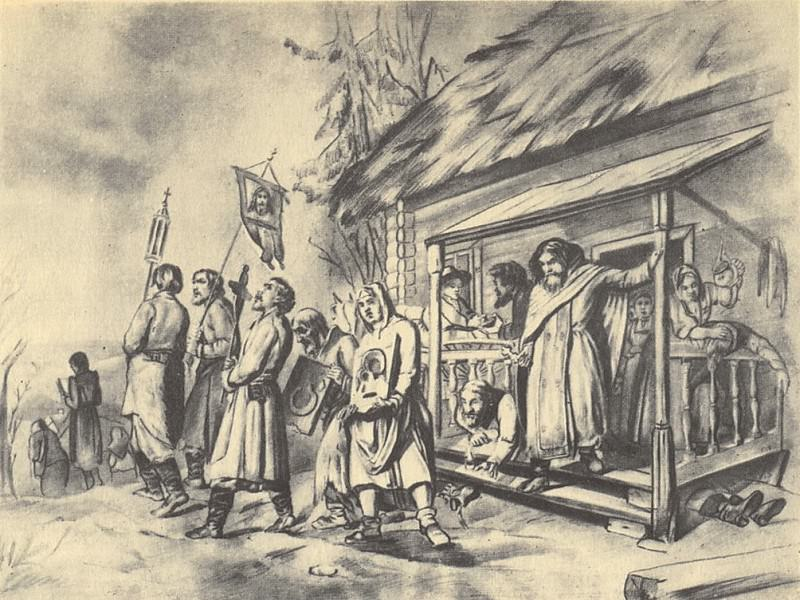 Procession on Easter. Sketch pictures. 1860. GRM. Vasily Perov