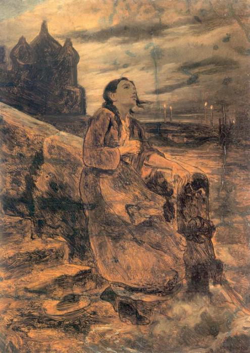 Girl into the water. Sketch. H. 1879, m. 56. 5h41. 7. GRM. Vasily Perov