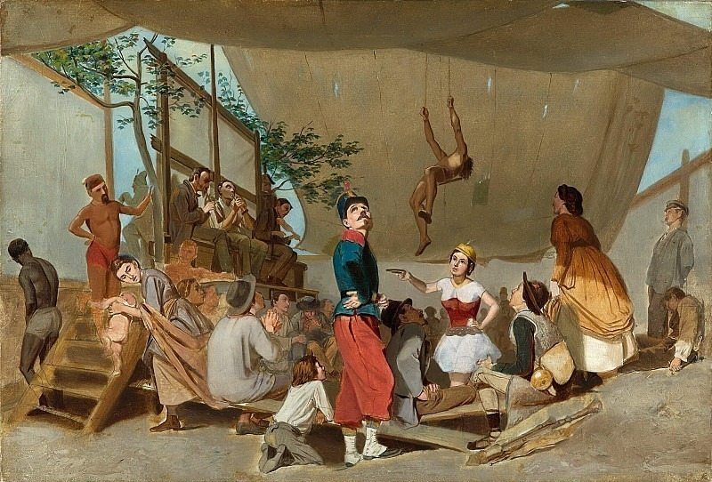Paris fest. Inside of a booth during a performance. Vasily Perov