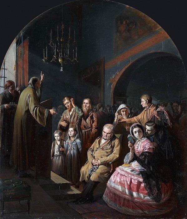 Sermon in the village. Vasily Perov