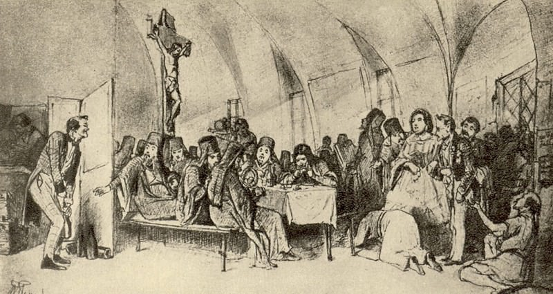 meal. Sketch pictures of the same name, located in the State Russian Museum. Drawing pencil. 1865 TG. Vasily Perov