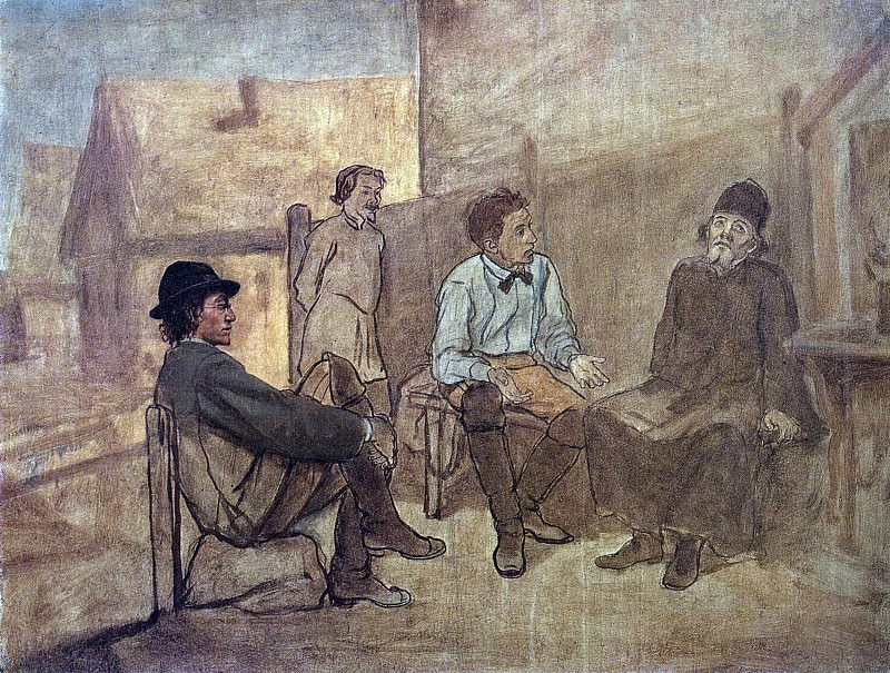 Conversation students with a monk. H. 1871, m. 53, 5h71, 5 GTG. Vasily Perov