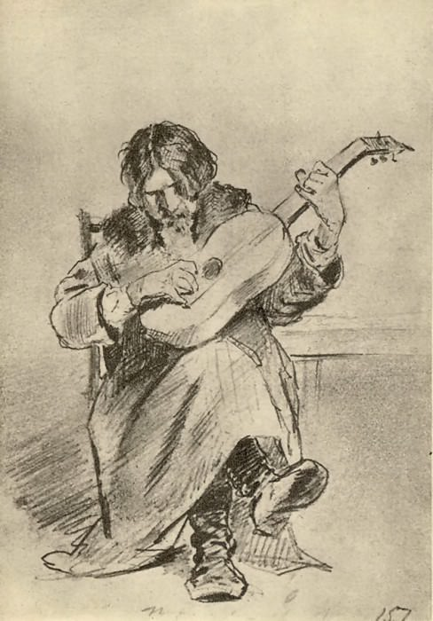 Guitarist-bach. (Et. to because of the same name from the timing). Fig. pencil. GTG. Vasily Perov