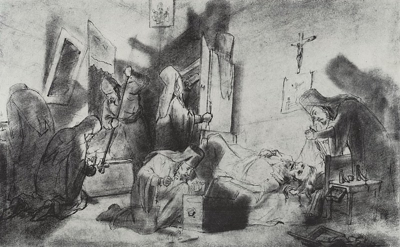 The division of inheritance in the monastery (The death of a monk). Drawing pencil. 1868 Fig. 18h27, 5 GTG. Vasily Perov