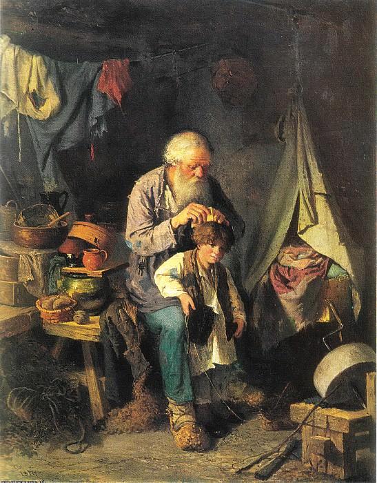 Дедушка и внучек. 1871 Х. , м. 78х62 Ташкент. Василий Григорьевич Перов