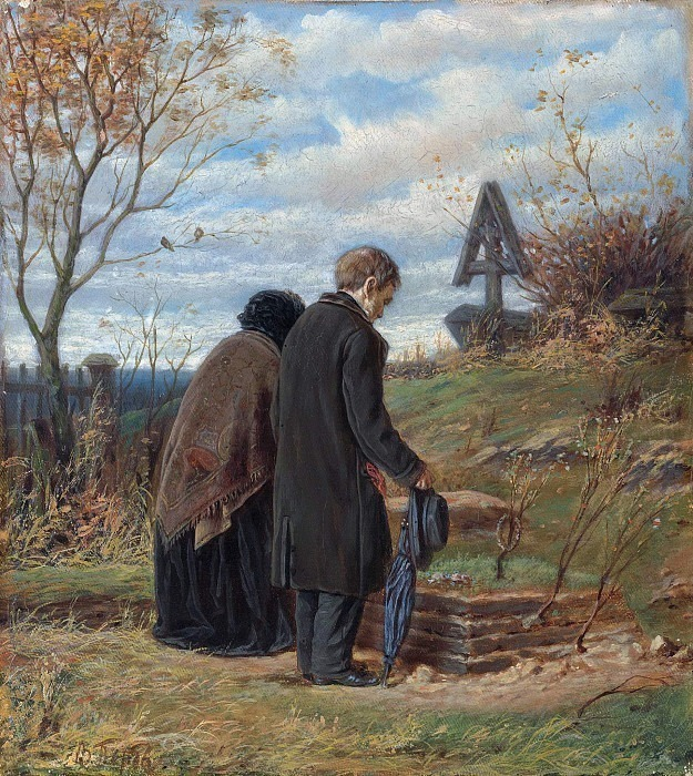 Old parents at the grave of his son. Vasily Perov
