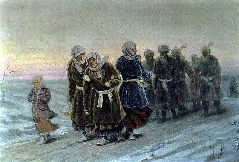 Return peasants from the funeral in the winter. Beginning. 1880 K, 36h56 pm, 7 TG. Vasily Perov