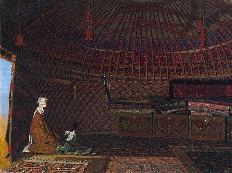 The interior of the yurt of a rich Kyrgyz. Vasily Vereshchagin
