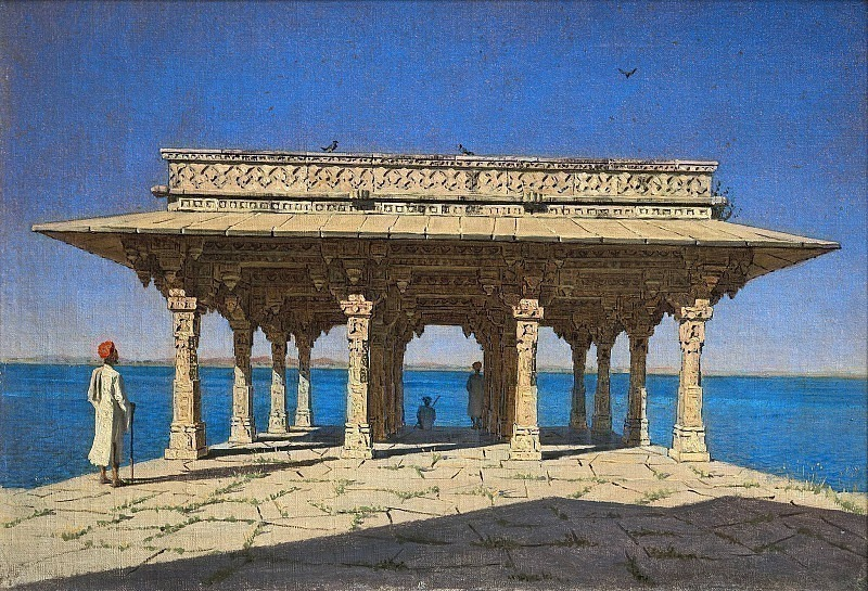 Evening on the lake. One of the pavilions on the Marble Embankment in Rajnagar (Udaipur principality). Vasily Vereshchagin