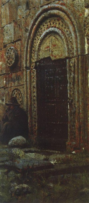 Entrance door to the church under Kazbek. 1897. Vasily Vereshchagin