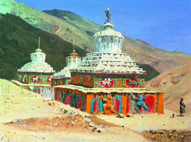Posthumous monuments in Ladakh. 1875. Vasily Vereshchagin