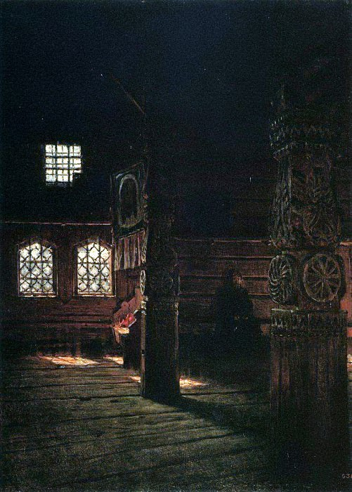 Internal view of the wooden church of St. Peter and Paul in Puchuge. 1894. Vasily Vereshchagin