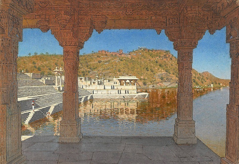 Rajnagar. A marble embankment decorated with bas-reliefs on a lake in Udaipur. Vasily Vereshchagin